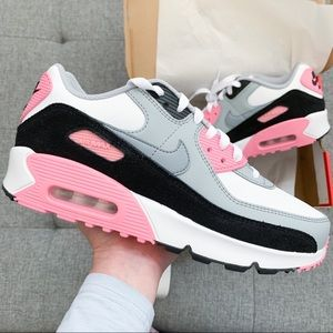 🌸 Nike Air max 90 white grey pink athletic shoes